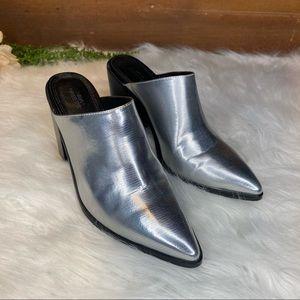 Urban Outfitters Silver Western Mule Slip On SZ 7M